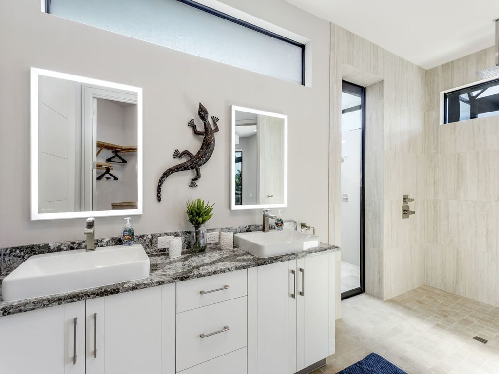 rockabilly bathroom white cabinets modern