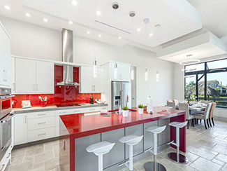rockabilly white kitchen cabinets red accent